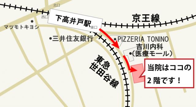 下高井戸駅からちゅうしん整体院までの地図