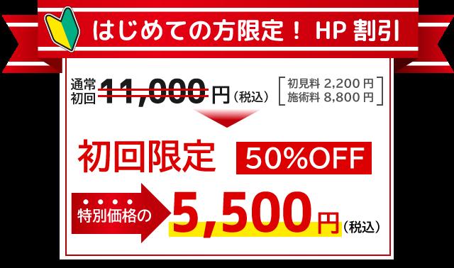 初回限定のホームページ割引は、通常初回11000円(税込)のところ、50%オフの5500円(税込)となります